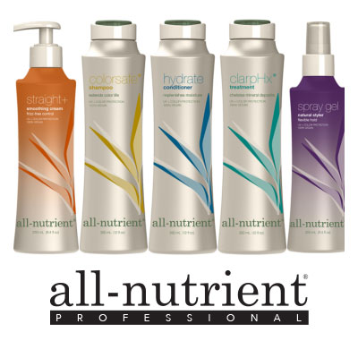 A line  up of all-nutrient hair products